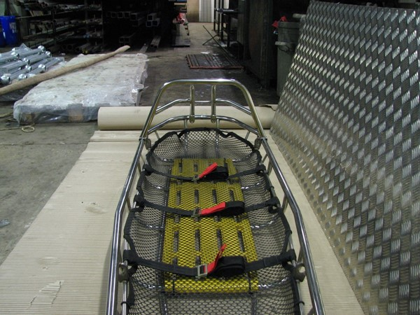 UK Oil Platform rescue stretcher with head guard