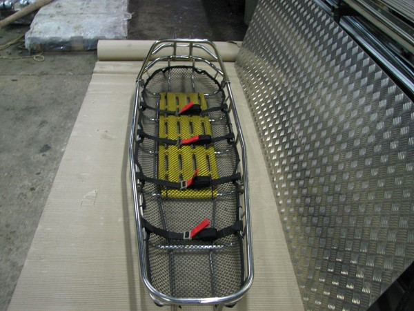 Confined space stainless steel rescue stretcher with head guard